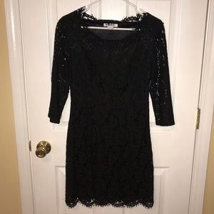 Lulus Lace Mini Dress L/S Black Medium